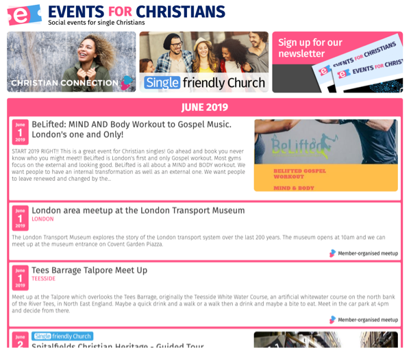 Events for Christians website